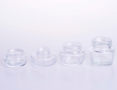 Customized Cream jar in clear glass in dofferent size