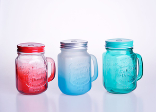 European Embossed Glass Mason Jar with Handle