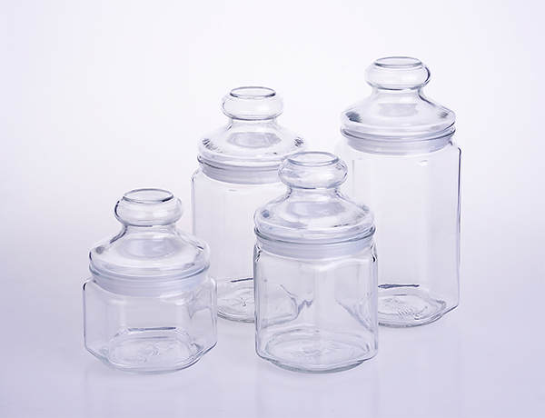 Hexagon Large Glass Storage Jar Container