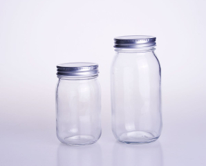 Round Glass Mason Jar with Metal Closure